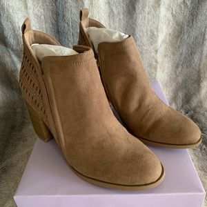 Madden Girl Eviita Woven Ankle Boot Taupe Booties